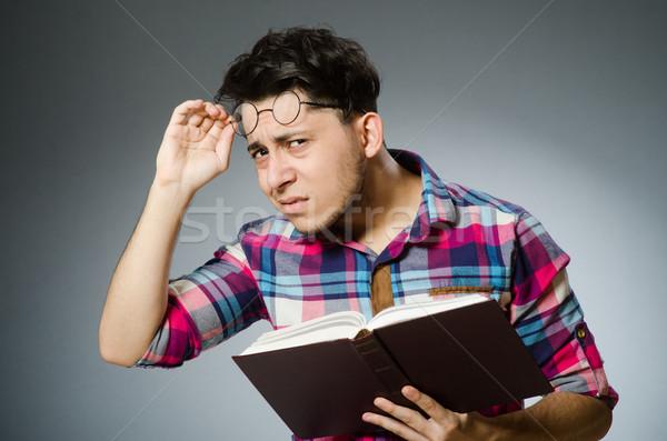 Funny estudiante muchos libros nina feliz Foto stock © Elnur