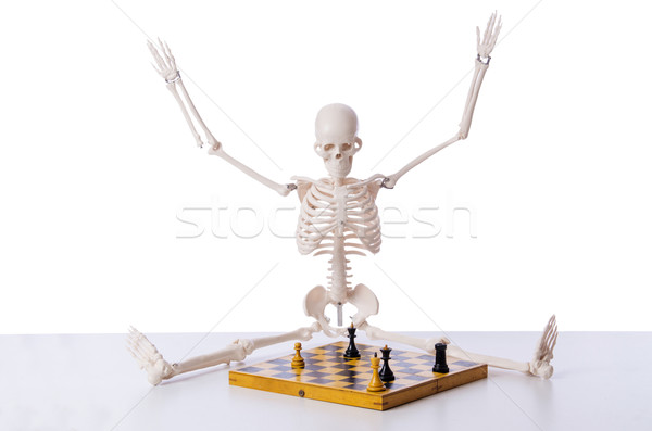 Skeleton playing chess game on white Stock photo © Elnur