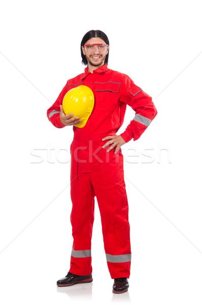 Stock fotó: Férfi · visel · piros · izolált · fehér · férfi · fehér