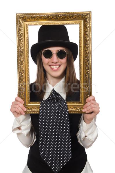 Mulher quadro de imagem isolado branco fundo retrato Foto stock © Elnur