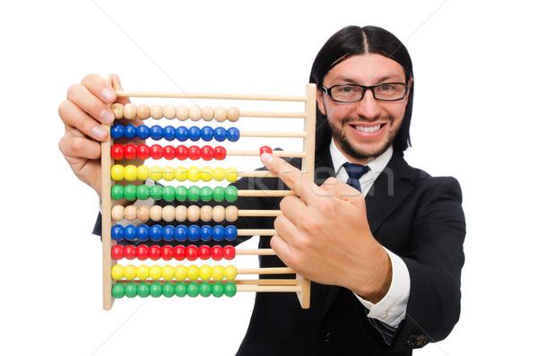 Vicces férfi számológép abakusz üzlet diák Stock fotó © Elnur
