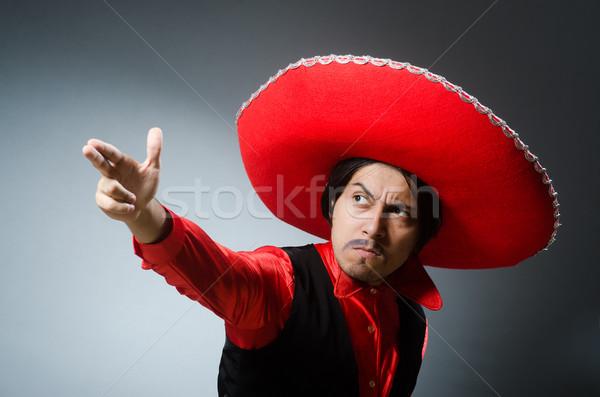 人 着用 ソンブレロ 帽子 面白い 自殺 ストックフォト © Elnur