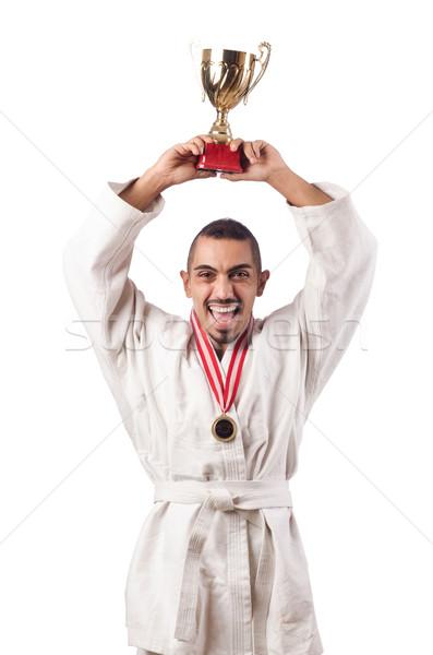 Engraçado karatê lutador copo branco homem Foto stock © Elnur