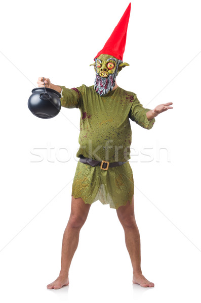 Scary monster with pot of meals isolated on white Stock photo © Elnur
