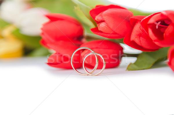Trauringe Blumen isoliert weiß Blume Hochzeit Stock foto © Elnur