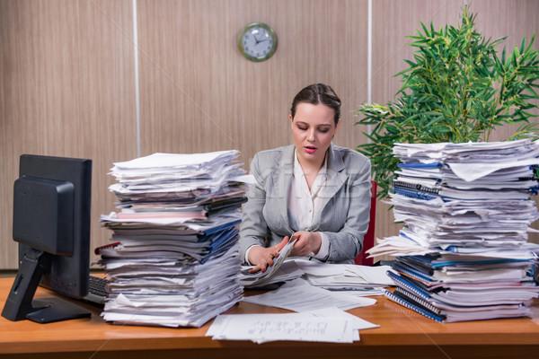Zakenvrouw stress werken kantoor vrouw werk Stockfoto © Elnur