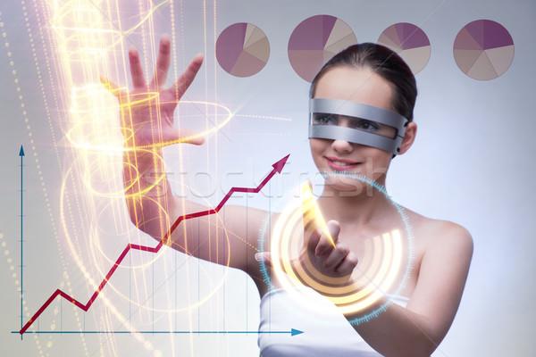 Techno Geschäftsfrau futuristisch Gläser bar Zukunft Stock foto © Elnur