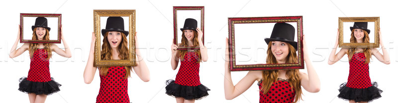Pretty girl in red polka dot   dress with picture frame  isolate Stock photo © Elnur