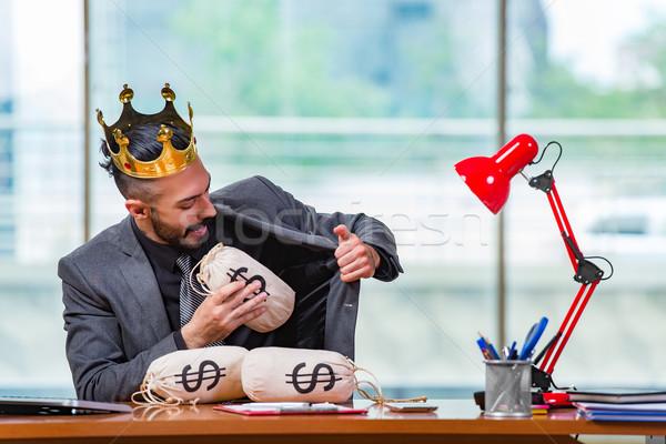 üzletember korona pénz iroda üzlet munka Stock fotó © Elnur