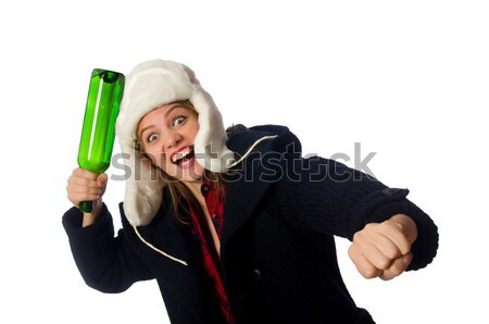 Stock photo: Woman with hat in funny concept