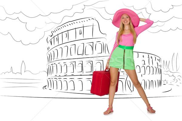Fiatal nő utazás Róma Olaszország lány boldog Stock fotó © Elnur