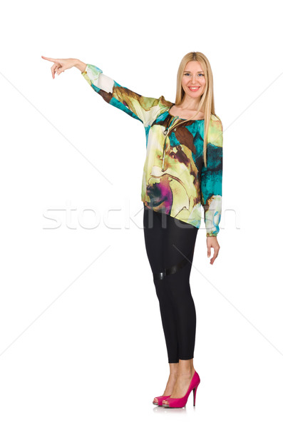 Tall model in green blouse isolated on white Stock photo © Elnur