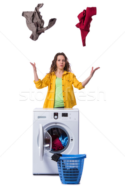 The woman feeling sressed after doing dirty laundry Stock photo © Elnur