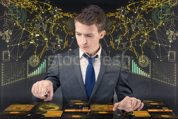 Foto stock: Moço · dados · gestão · computador · mundo · teia