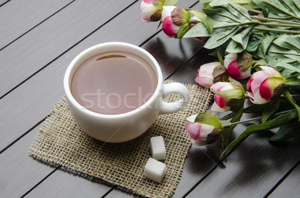 カップ 茶 ケータリング 花 葉 ガラス ストックフォト © Elnur