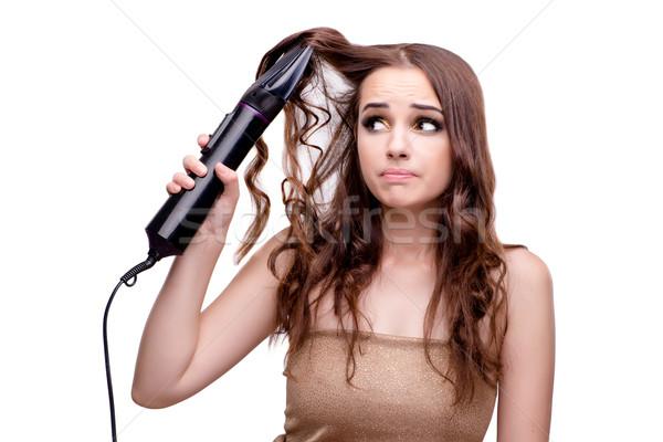 Mooie vrouw haren haardroger geïsoleerd witte hand Stockfoto © Elnur