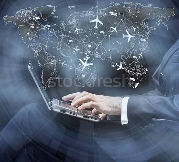Concept of online booking for air travel Stock photo © Elnur