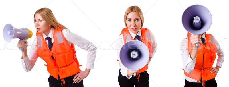 Fiatal nő mellény hangfal fehér nő üzletember Stock fotó © Elnur