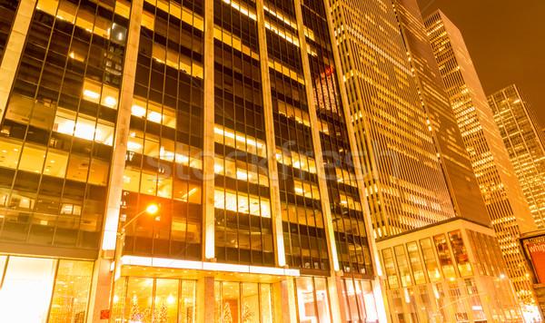 Noche vista nuevos Manhattan puesta de sol negocios Foto stock © Elnur