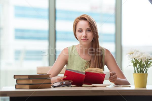 Fiatal nő iskola vizsgák könyv könyvek boldog Stock fotó © Elnur