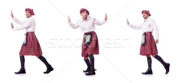 Férfi toló virtuális akadály jókedv ruházat Stock fotó © Elnur