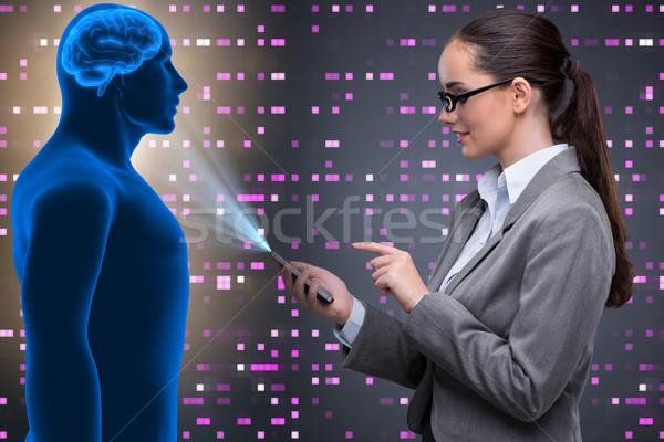 Empresária inteligência artificial computador mulher telefone internet Foto stock © Elnur