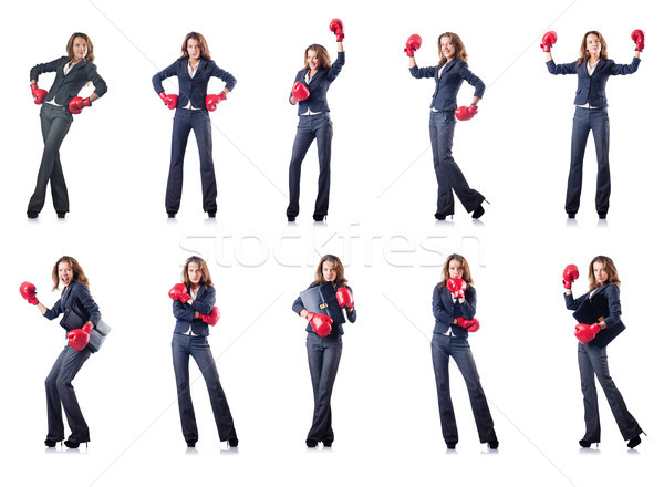 Guantes de boxeo aislado blanco negocios mujer Foto stock © Elnur
