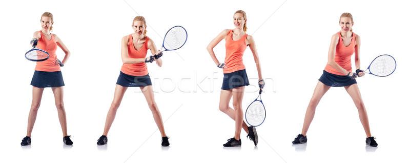 Fiatal nő játszik tenisz izolált fehér sport Stock fotó © Elnur
