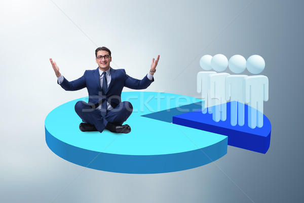 Man meditating sitting on pie chart in business concept Stock photo © Elnur