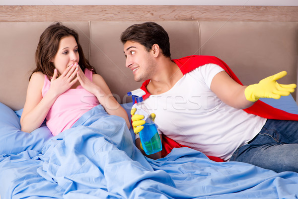 Stock photo: Super hero husband in bed