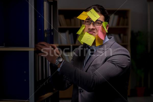 ストックフォト: ビジネスマン · 長い · オフィス · 作業 · ノートブック