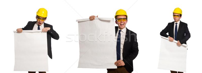 Stock fotó: Vicces · építész · rajzok · fehér · üzlet · iroda