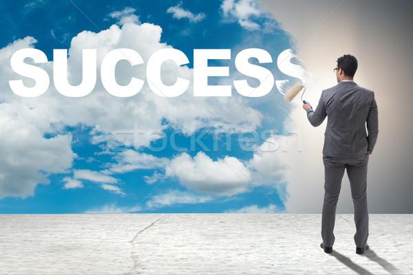 Zakenman schilderij business hemel man verf Stockfoto © Elnur