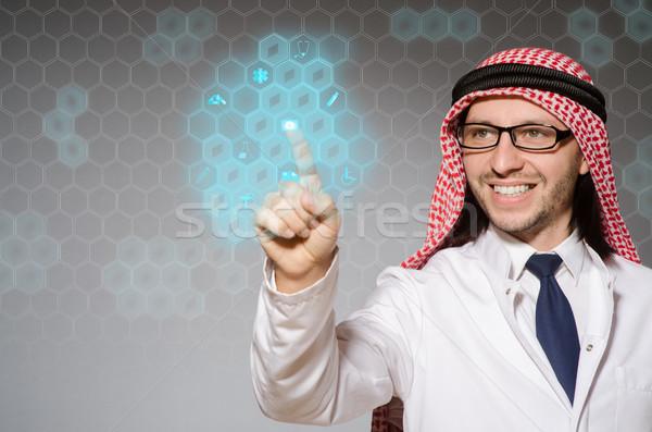 Arab üzletember kisajtolás virtuális gombok üzlet Stock fotó © Elnur