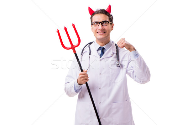 Devil doctor in funny medical concept isolated on white backgrou Stock photo © Elnur