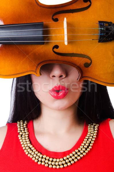 скрипки белый женщину концерта звук Сток-фото © Elnur