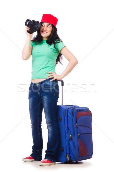 Photo stock: Jeune · fille · Voyage · cas · caméra · fille · heureux