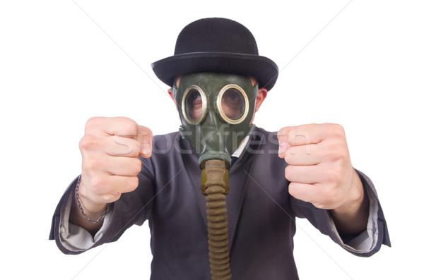Affaires masque à gaz isolé blanche visage Photo stock © Elnur