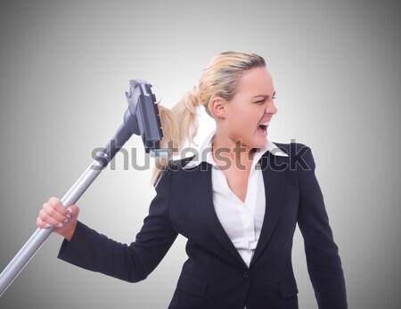 Nő üzletasszony fegyver fehér üzletember öltöny Stock fotó © Elnur