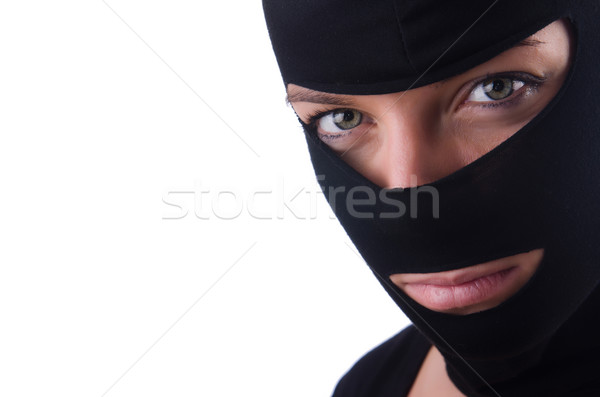 Young female burglar isolated on white Stock photo © Elnur
