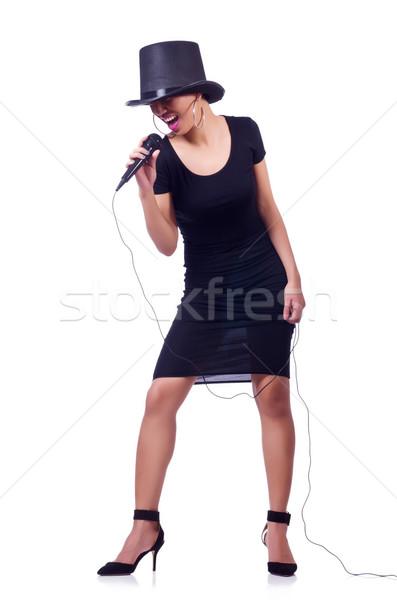 Feminino cantora isolado branco festa fundo Foto stock © Elnur
