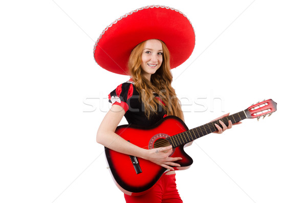 Donna chitarrista sombrero bianco party chitarra Foto d'archivio © Elnur