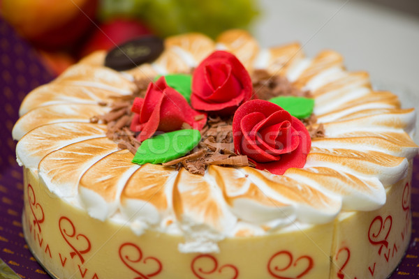 Topping of cake with cream Stock photo © Elnur