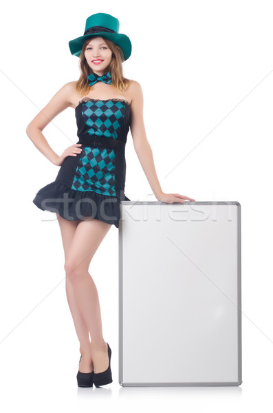 Young pretty woman in a hat  with blank board isolated on white Stock photo © Elnur