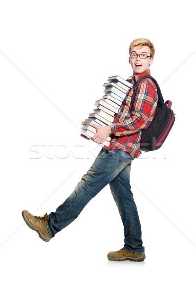 Vicces diák könyvek könyv iskola tanulás Stock fotó © Elnur