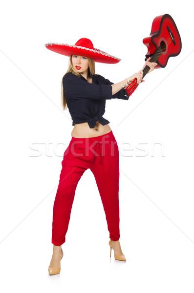 Meksika kadın gitarist yalıtılmış beyaz parti Stok fotoğraf © Elnur