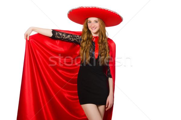 Mexican kobieta czerwony odzież biały szczęśliwy Zdjęcia stock © Elnur