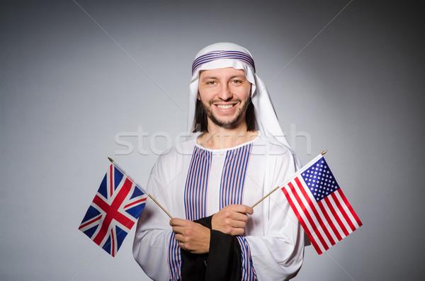 Stock fotó: Arab · férfi · Egyesült · Királyság · zászló · üzlet · háttér