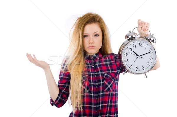 Mujer reloj aislado blanco trabajo ejecutar Foto stock © Elnur