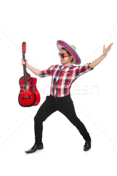 Engraçado mexicano sombrero música festa guitarra Foto stock © Elnur